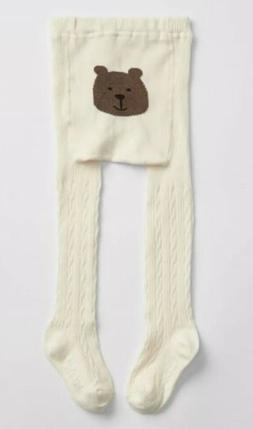 Baby Gap Girl Toddler Cable Knit Bear Tights Ivory Frost Siz