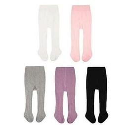 CozyWay Baby Girls Tights Cable Knit Cotton 3/5 Pack, MultiC