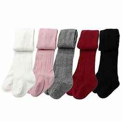 Baby Toddler Girls Cable Knit Tights 5 Pack Leggings 12-24 M