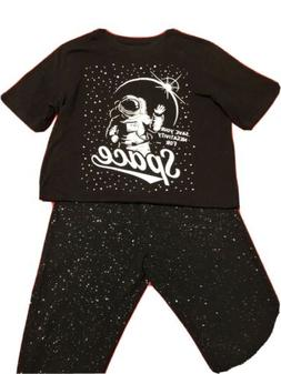 Black Space Shirt And Glitter Tights Size 14/16