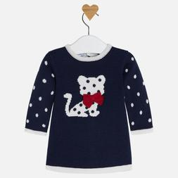 Mayoral Cat Baby Girl Knit Dress Matching Cat Tights Boutiqu