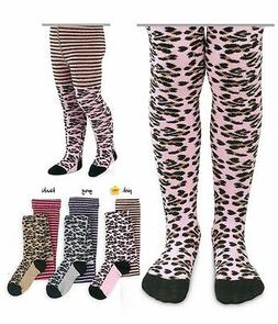 JEFFERIES Cotton Animal Print Footed Tights Leopard Zebra Ag