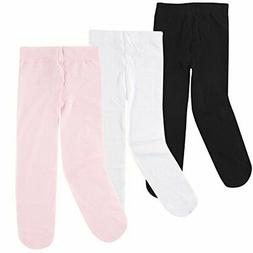 Luvable Friends Baby Girls' Nylon Tights, 3 Pack,, Pink/Whit