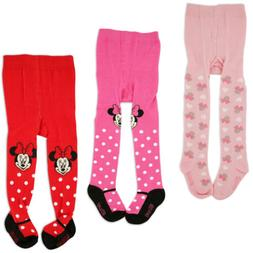 Disney Minnie Mouse Polka Dot Tights, 3 Piece Variety Pack,