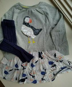 Mini Boden Sequin Puffin Dress Cable Knit Tights Size 3 4  1